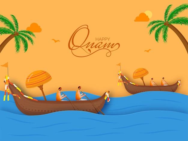 Happy onam celebration background with aranmula or snake boat race on river.