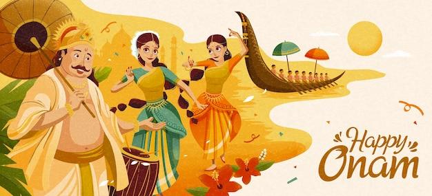 마하발리 왕과 댄서들이 있는 해피 오남 축하 배너