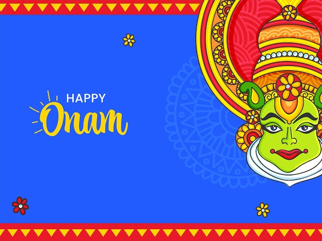 Happy onam celebration concept with kathakali dancer face on blue and red background.