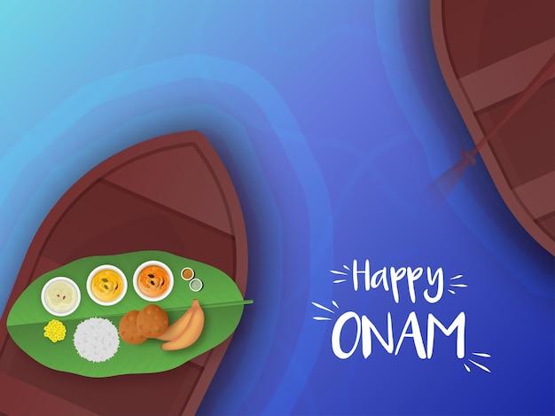 나무 보트와 강 배경에 sadhya 음식의 상위 뷰와 함께 행복 onam 축 하 개념.