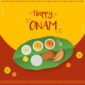 Happy onam celebration concept with top view of sadhya food on red and yellow background.