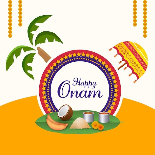 Happy onam celebration concept with traditional umbrella, coconut tree, sadhya food on orange and white background.