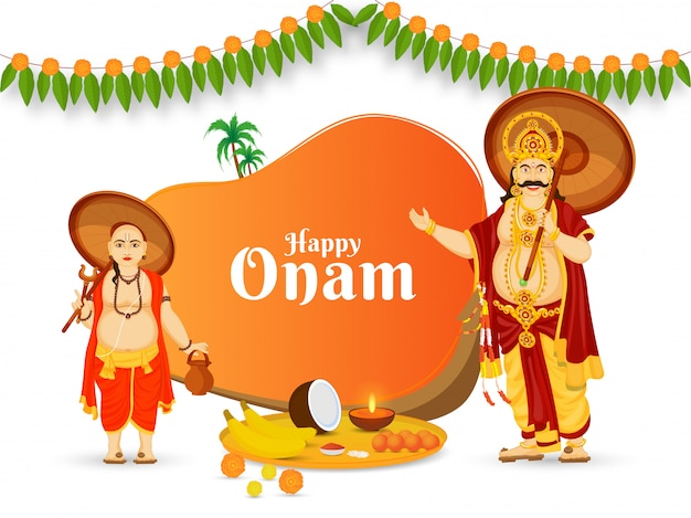 Happy onam celebration poster design with cheerful king mahabali, vamana avatar, aranmula boat, coconut, banana and worship plate on white background.