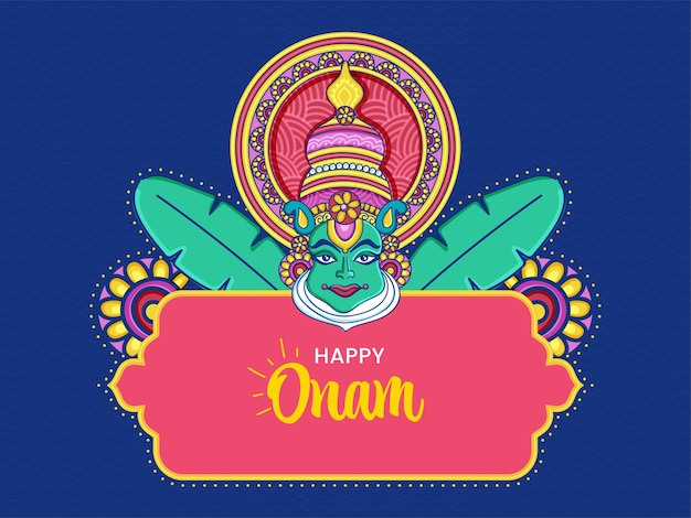 Happy onam celebration poster design with kathakali dancer face and banana leaves on blue background.