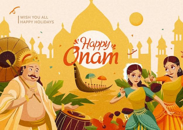 크롬 노란색 건축 실루엣 배경에서 마하발리 왕과 댄서들과 함께하는 행복한 오남 축하