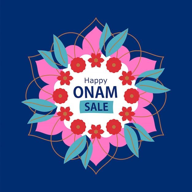 Happy onam discount design with rangoli