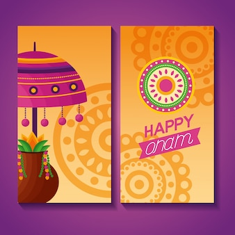 Happy onam festival celebration greeting card