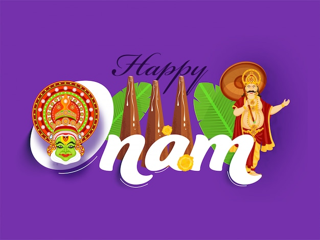 Happy onam font with king mahabali, kathakali face, banana leaves, flowers and thrikkakara appan idol on purple background.