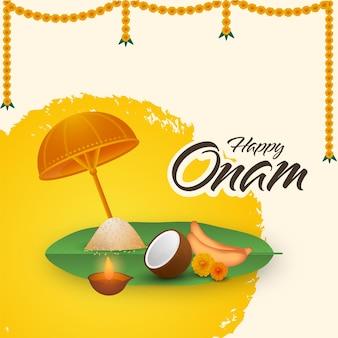 Happy onam font with olakkuda (umbrella), sadhya food, lit oil lamp, marigold toran on yellow and beige background.