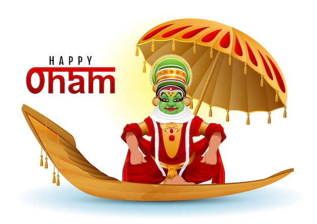 Happy onam greeting card. hindu festival of kerala in india. mahabali king returns swimming on boat
