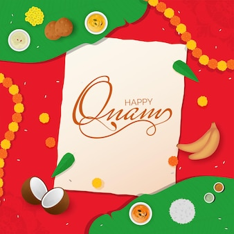 Happy onam greeting card with top view of sadhya food over banana leaf and marigold flowers on red background.