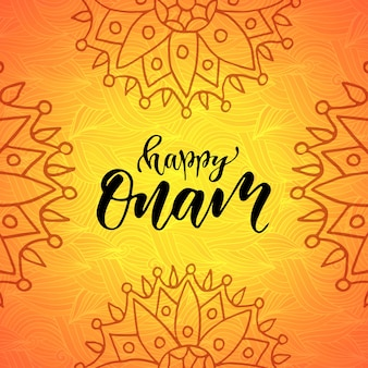 Happy onam holiday vector illustration. modern calligraphy