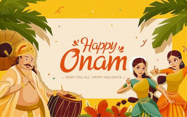 크롬 노란색 배경에 마하발리 왕과 댄서가 있는 해피 오남 그림