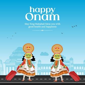 Happy onam indian festival banner design template