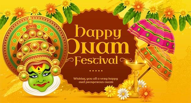 Happy onam kathakali illustration with marigold and umbrella elements