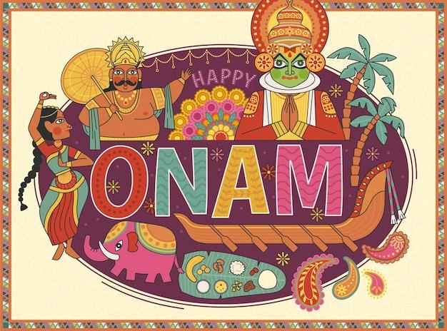 Happy onam poster design with mahabali king and kathakali dancer on purple background