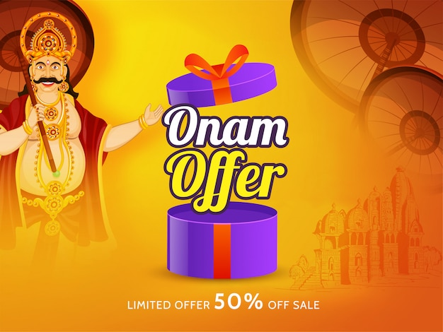 Happy onam sale poster or banner design