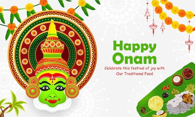 Happy onam south indian festival celebration.
