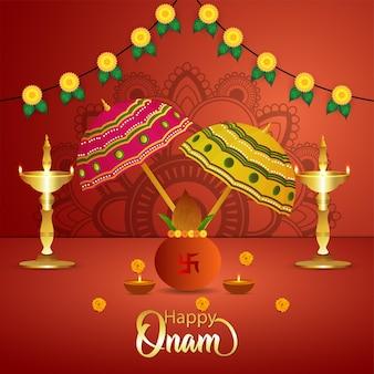 Happy onam south indian fetival celebration background