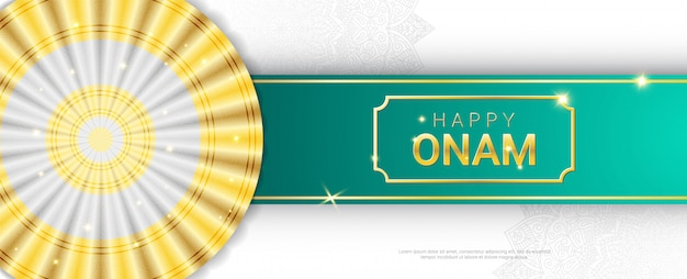 Happy onam sparkling gold letters horizontal banner template. harvest hindu festival malayali people celebrate in kerala. traditional thiruvathirakali dance white and gold sari and mandala ornament.