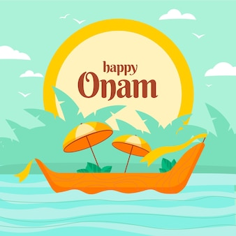 Happy onam with boat and umbrellas