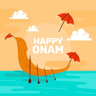 Happy onam with boat