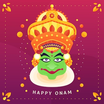 Happy onam with crown and deity