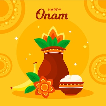 Happy onam with vessels