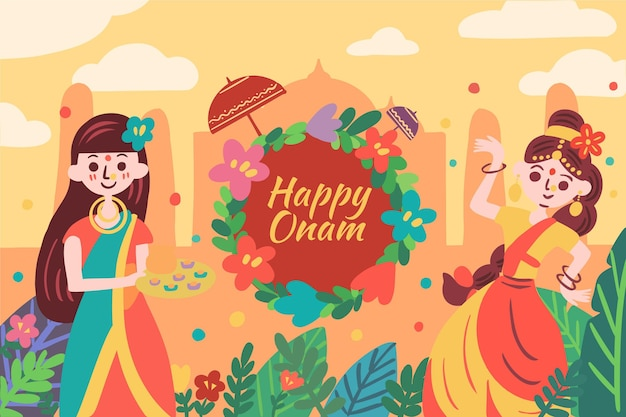 Happy onam with women and flowers