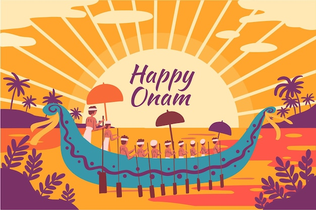 Happy onam woth boat and river