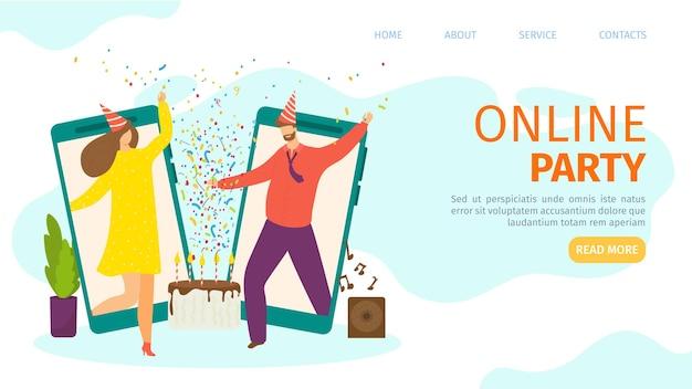 Счастливая онлайн-вечеринка на целевой странице мобильного экрана