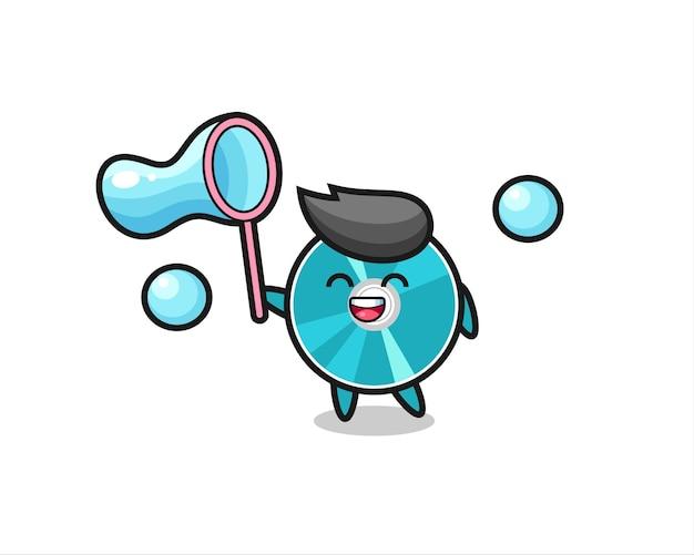 Счастливый оптический диск мультфильм играет мыльный пузырь, милый стиль дизайна для футболки, наклейки, элемент логотипа