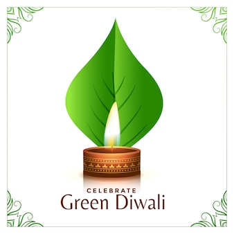 Happy organic diwali concept leaves illustration