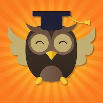 Happy owl celebrating graduation