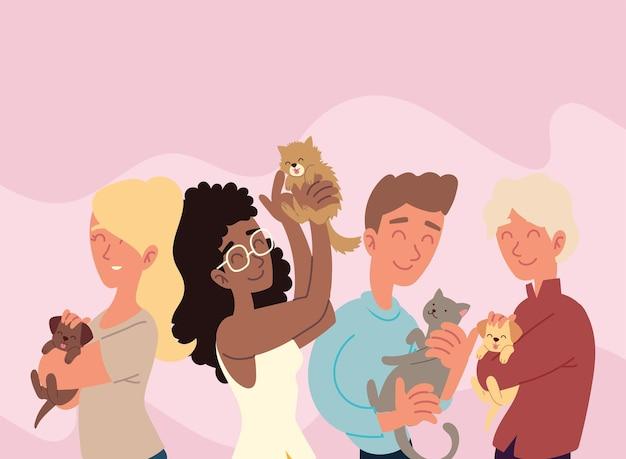 Счастливые хозяева с домашними животными