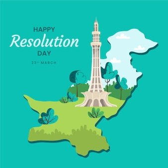 Happy pakistan day hand drawn and landmark