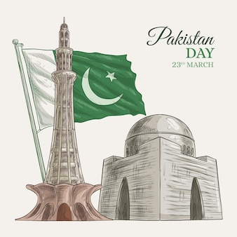 Happy pakistan day hand drawn