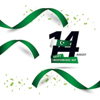 Happy pakistan independent day vector template design