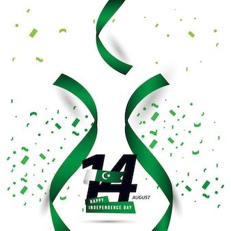 ハッピーパキスタンの独立した日のベクトルのテンプレートデザイン