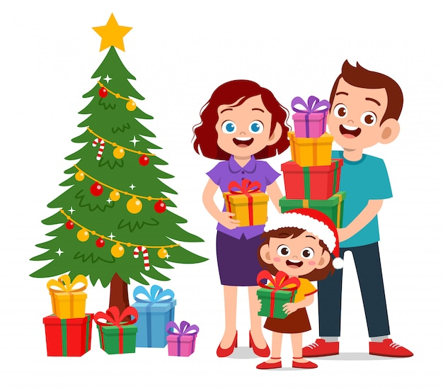 Happy parent give present to kid christmas