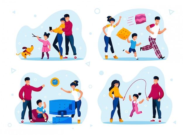 Happy parenthood activities types flat set