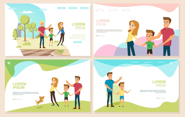 Happy parenthood and childhood vector websites set