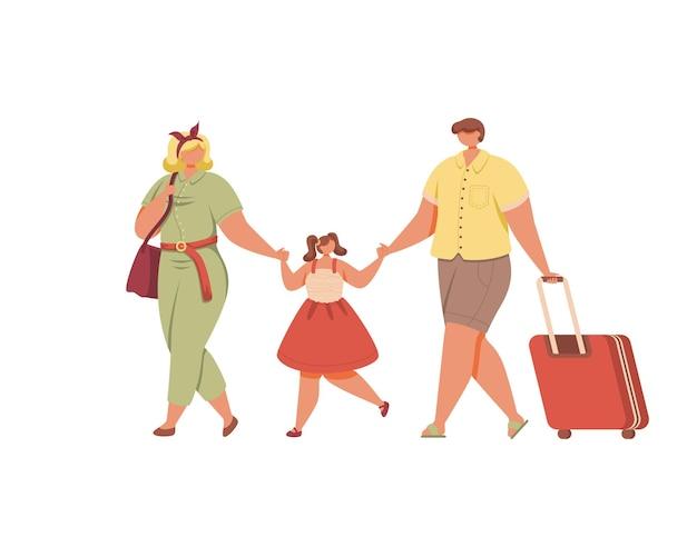 Счастливые родители и ребенок собираются на летние каникулы иллюстрации на белом фоне
