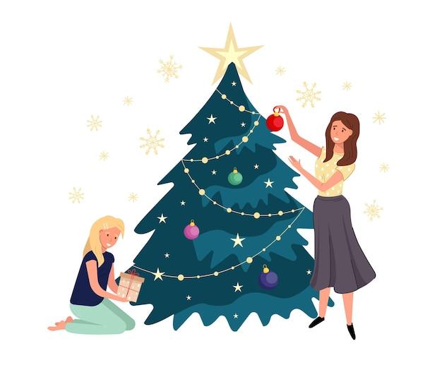 Счастливые родители и дети открывают подарки под новогодней елкой.