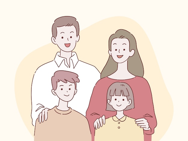 행복 한 부모와 자녀는 함께 가족 개념, 손으로 그린 스타일 일러스트 미소.