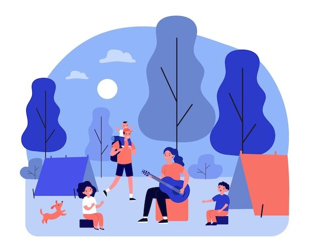 幸せな親と子供たちがキャンプを楽しんでいます。子供と大人がテントに座って、ギターのイラストを演奏します。バナー、ウェブサイトまたはランディングウェブページの家族の野外活動の概念
