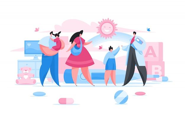 Счастливые родители и дети в офисе педиатра. плоская иллюстрация