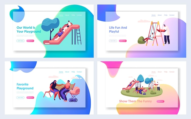 Happy parents and children spend time on playground outdoors website landing page set
