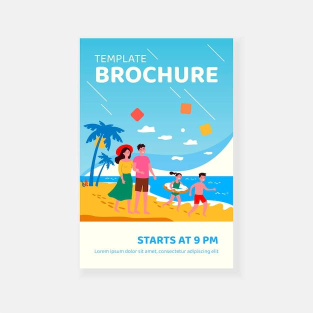 Happy parents couple and kids spending summer vacation by seaside brochure template