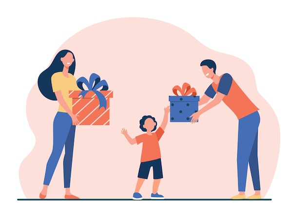 Happy parents giving gifts to son. boy receiving birthday presents flat vector illustration. surprise, christmas, childhood
